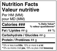 Nutrition Facts table - Bilingual Simplified Standard – Single-serving Prepackaged Products - Figure 6.1.1. Description follows.
