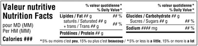 Tableau de la valeur nutritive - Horizontal simplifié bilingue – produits préemballés à portion individuelle – Figure 7.1.1 alternative. Description ci-dessous.