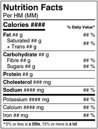 This is an example of a Standard Nutrition Facts table displaying the core mandatory information. Description follows.
