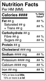 This is an example of a Narrow Standard Nutrition Facts Table. Description follows.