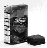 This powder brownie mix package is an example of a food requiring preparation. Description follows.