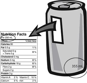 Nutrition facts table - can soft drink is a single serving therefore the information must be provided for the entire product.