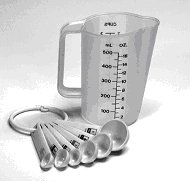 measuring cup and measuring spoons