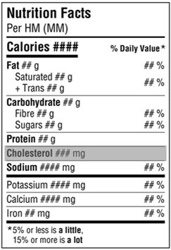 Nutrition fact table - Omega-3 is highlighted with a grey background which is not permitted