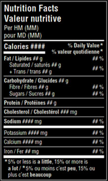 This nutrition facts table has white print on dark background which is not permitted.