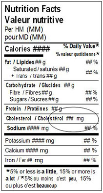 This is an example of a standard bilingual Nutrition Facts table with average spacing. Description follows.
