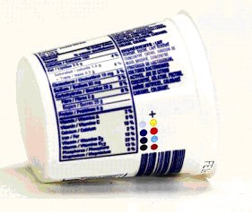 This yogurt container's Nutrition Facts table has blurred printing and the characters touch. This is not permitted.