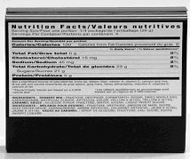 Rectangular product with widened nutrition fact table that fills a whole panel horizontally.