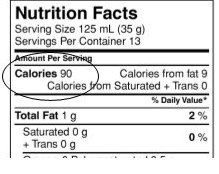 Nutrition Facts table – Calories is aligned under Amount Per Serving on the left. Calories from fat is on the same line but aligned to the right above the % daily value. Calories from Saturated + Trans is located on the line below Calories and aligned to the right.