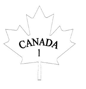 Outline of a maple leaf with the text CANADA in uppercase and below that, the number 1.