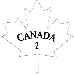 Outline of a maple leaf with the text CANADA in uppercase and below that, the number 2.