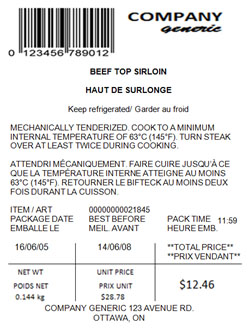 Figure 3 - this is an example of a non-compliant mechanically tenderized beef label. Description follows.