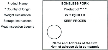 An example of a shipping label for a meat cut so inspectors can evaluate whether manadatory information is correct.