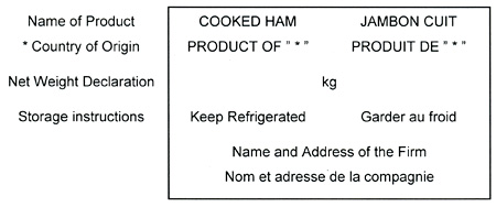 Main panel for a shipping carton containing a labelled prepackaged meat product