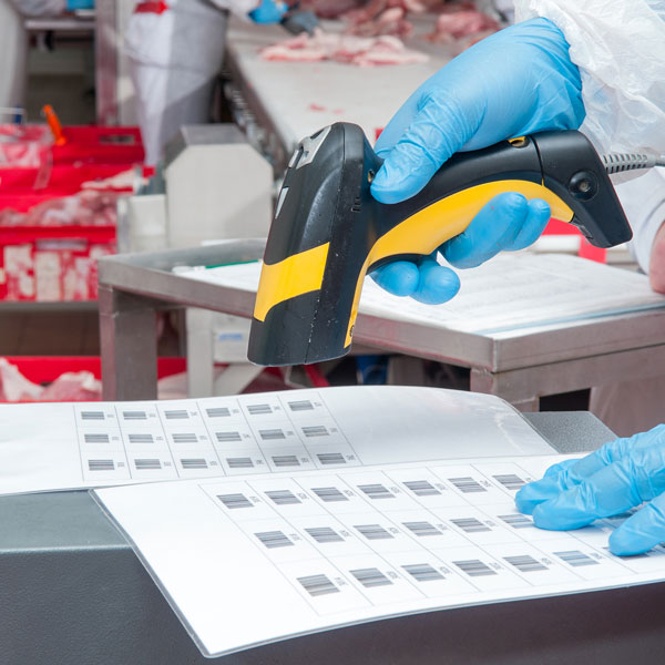 An inspector is in a warehouse scanning sheets of barcodes.