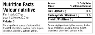 Nutrition Facts table - bilingual simplified horizontal format. Description follows.