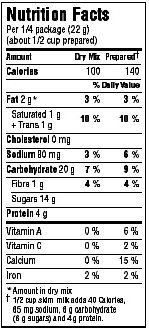 nutrition facts table - dual format - foods requiring preparation. Description follows.