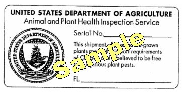 Export Certification Label. Description follows.