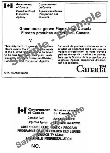 Examples of export certification label and interfacility stamp. Description follows.
