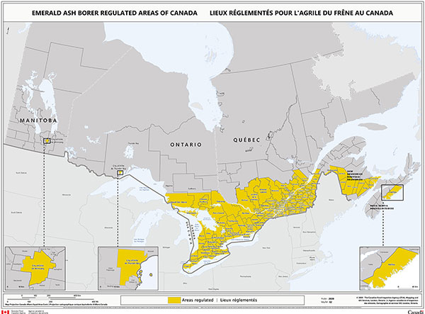 Map - Description for current areas regulated for Emerald Ash Borer by Ministerial Orders. Description follows.