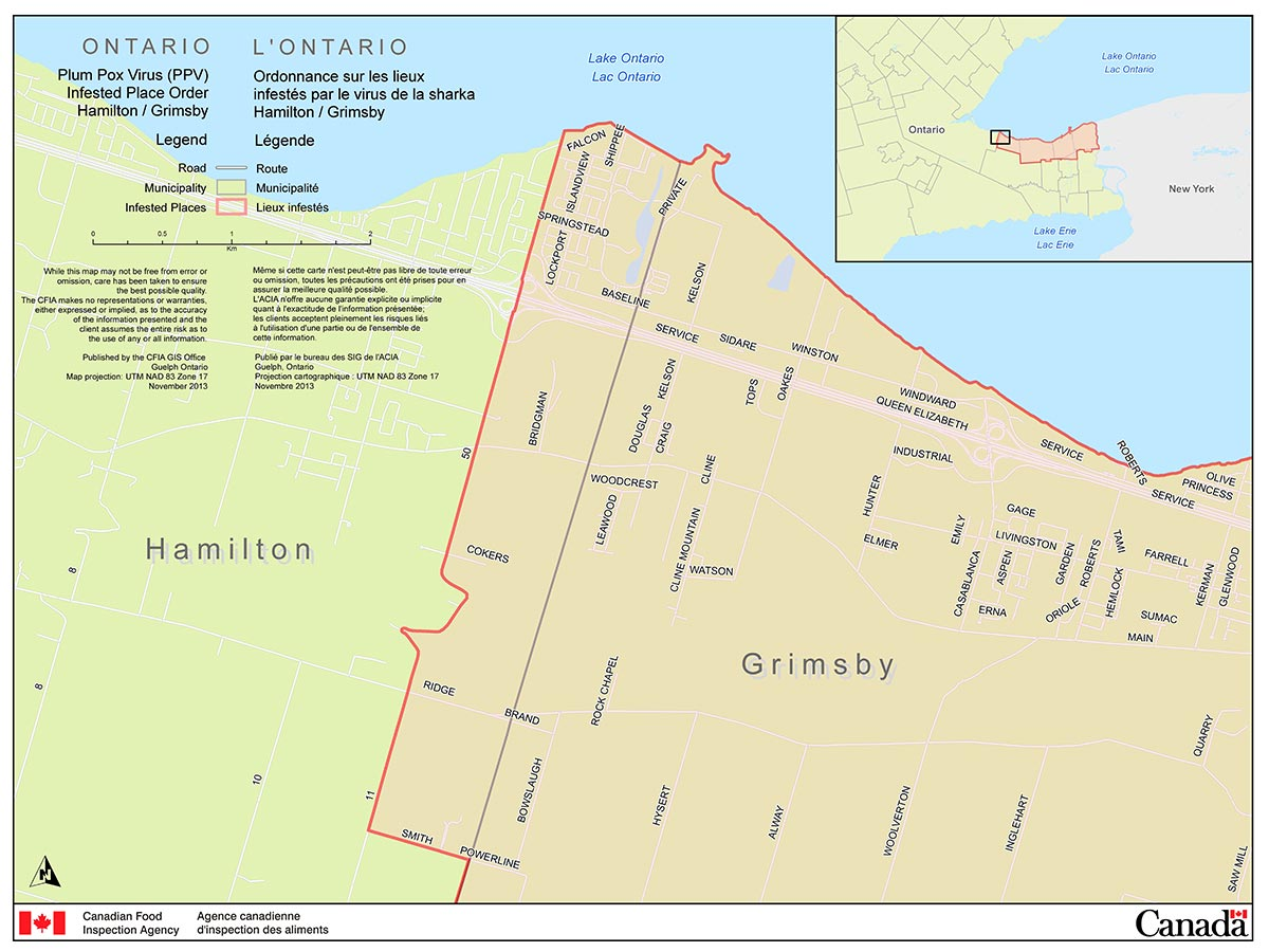 Map of the City of Hamilton Area (part of the Niagara Plum Pox Virus Infested Place). Description follows.