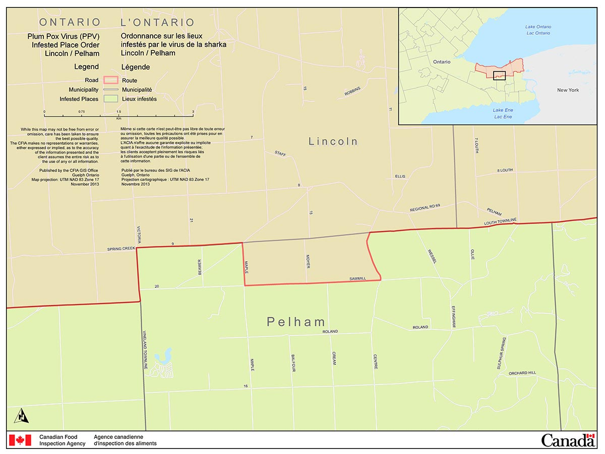 Map of the Town of Pelham Area (part of the Niagara Plum Pox Virus Infested Place). Description follows.