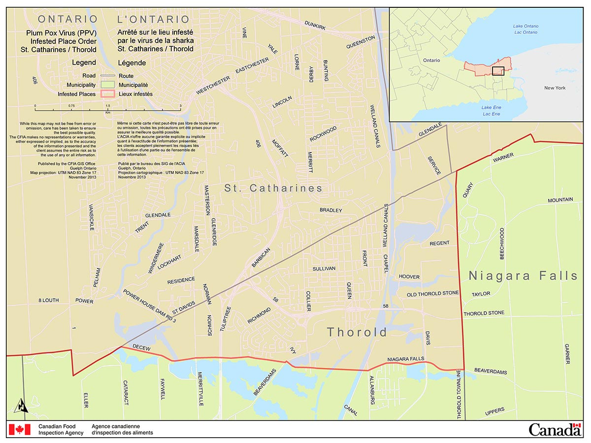 Map of the City of Thorold Area (part of the Niagara Plum Pox Virus Infested Place). Description follows.