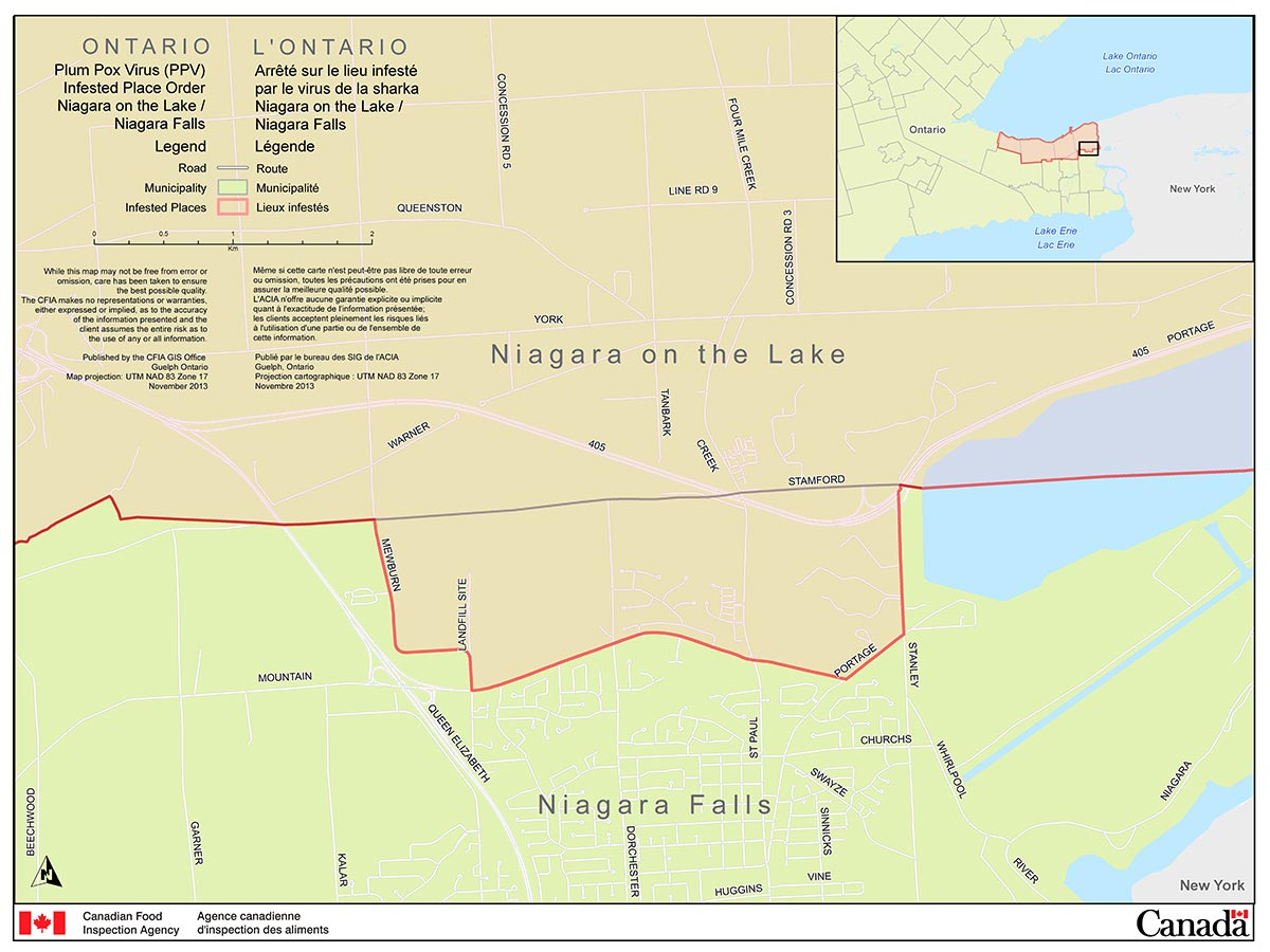 Map of the City of Niagara Falls Area (part of the Niagara Plum Pox Virus Infested Place). Description follows.