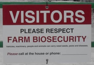 A photo of a square biosecurity sign on a gate. Description follows.