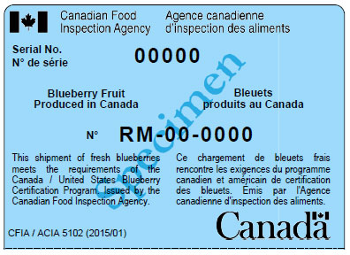 Canadian blueberry Movement Certification Label. Description follows.