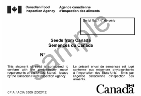 Image of Sample Seed Export Label number CFIA/ACIA 5309. Description follows.