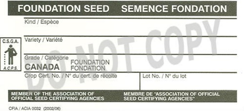 Front of Foundation seed tag. Description Follows.