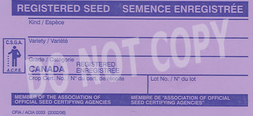 Front of Registered seed tag. Description Follows.