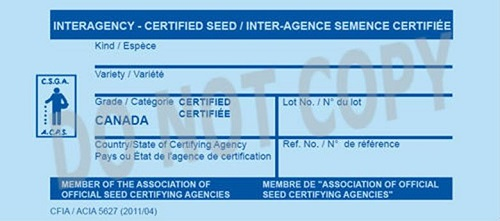 Front of Interagency seed tag for Certified seed tag. Description Follows.