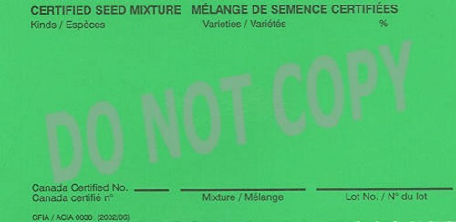 Front of tag for certified seed mixtures tag. Description Follows.