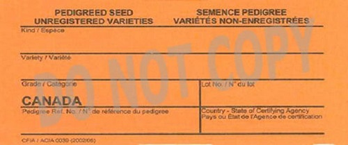 Front of tag for unregistered varieties of pedigreed seed tag. Description Follows.