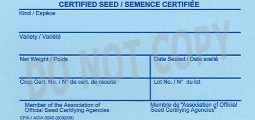 Front of tag for Certified seed for export tag. Description Follows.