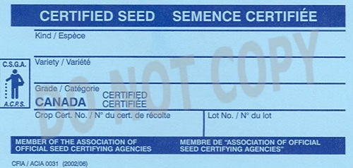 Front of Certified seed tag. Description Follows.