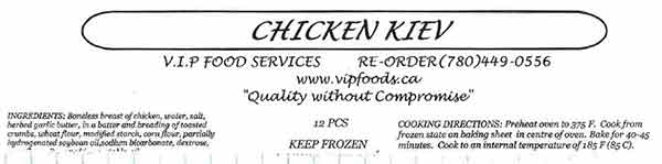 V.I.P. Food Services - Chicken Kiev - 12 pieces