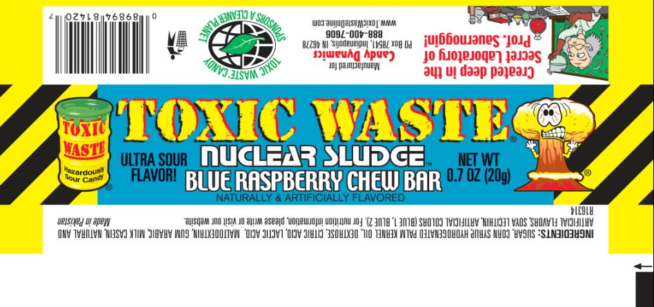 Toxic Waste Nuclear Sludge Blue Raspberry Chew Bar