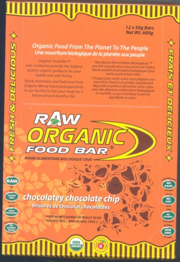 Chocolatey Chocolate Chip flavour Raw Organic Food Bars