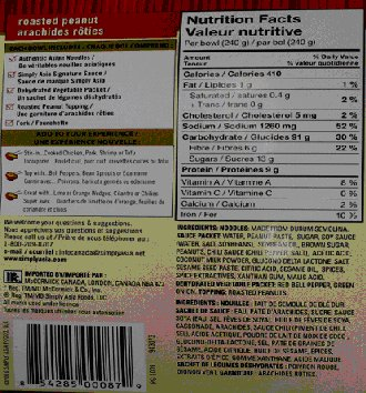 Roasted Peanut Noodle Bowl -Nutrition Facts Table