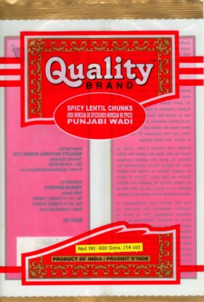 Quality brand Punjabi Wadi Spicy Lentil Chunks - 400 grams