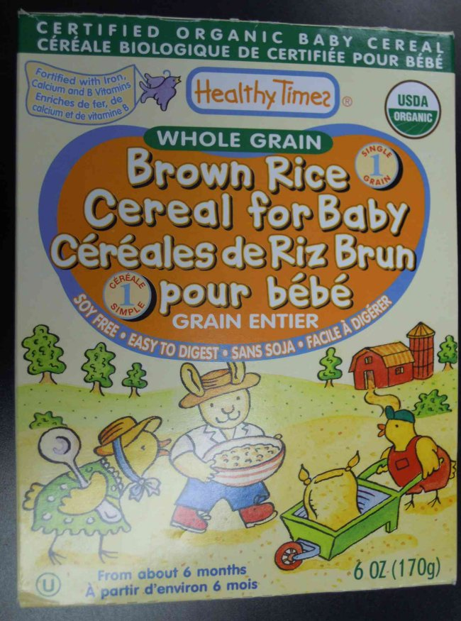 Healthy Times brand Brown Rice Cereal for Baby