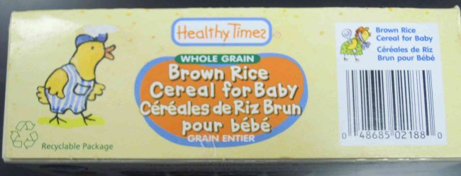 Healthy Times brand Brown Rice Cereal for Baby - Universal product code