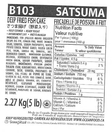 Ocean Food - Satsuma - Deep Fried Fish Cakes - 2.27 kilogram