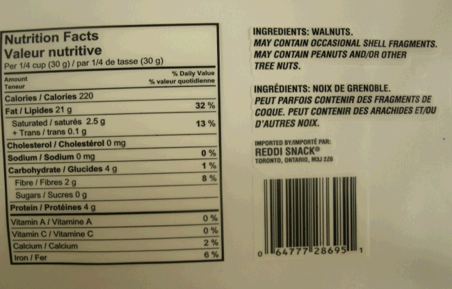 Reddi Snack - Nutritional Information