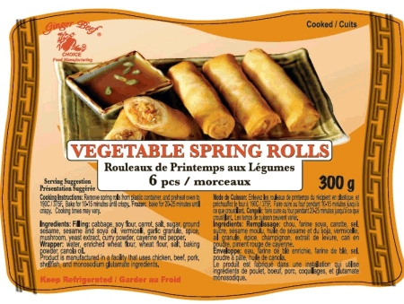 Vegetable Spring Rolls (6 pieces) - 300grams