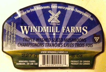 Windmill Farms - Triple Washed Sliced Mushrooms