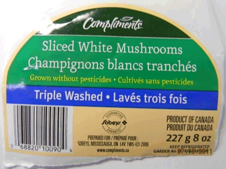Compliments - Sliced White Mushrooms